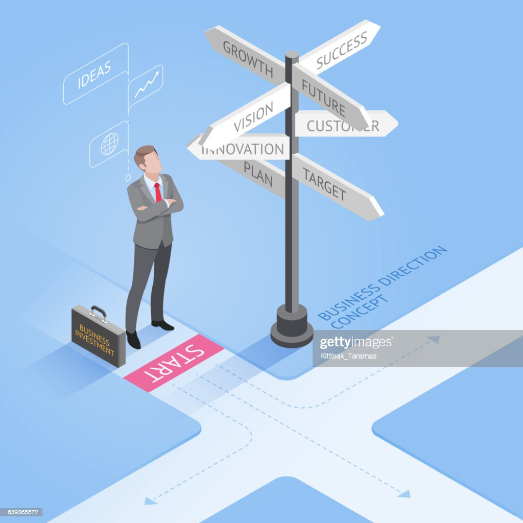 Isometric businessman standing at a crossroad and looking directional signs.