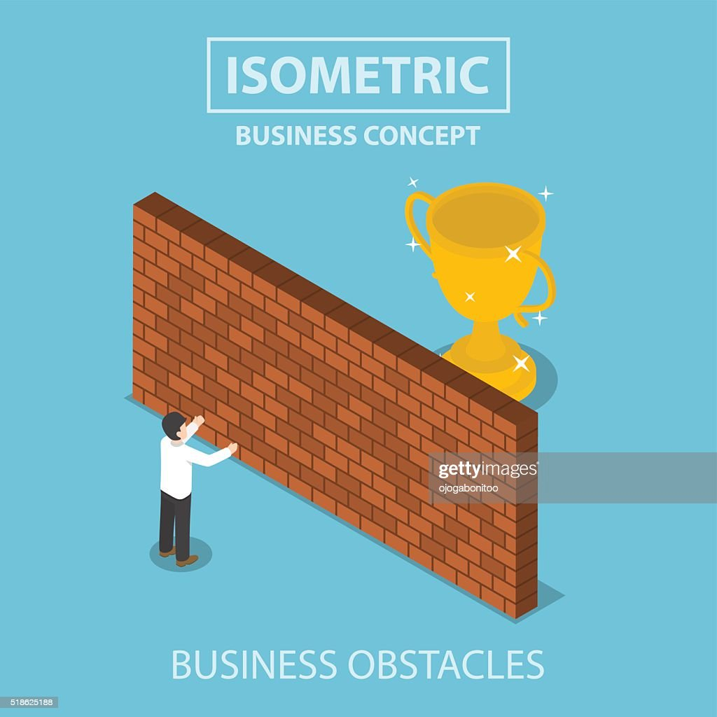 Isometric businessman standing in front of brick wall with troph
