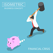 Isometric businessman trying to break piggy bank.
