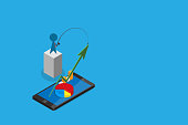 isometric businessman use fishing rod to pull green arrow from smartphone, digital online and business concept