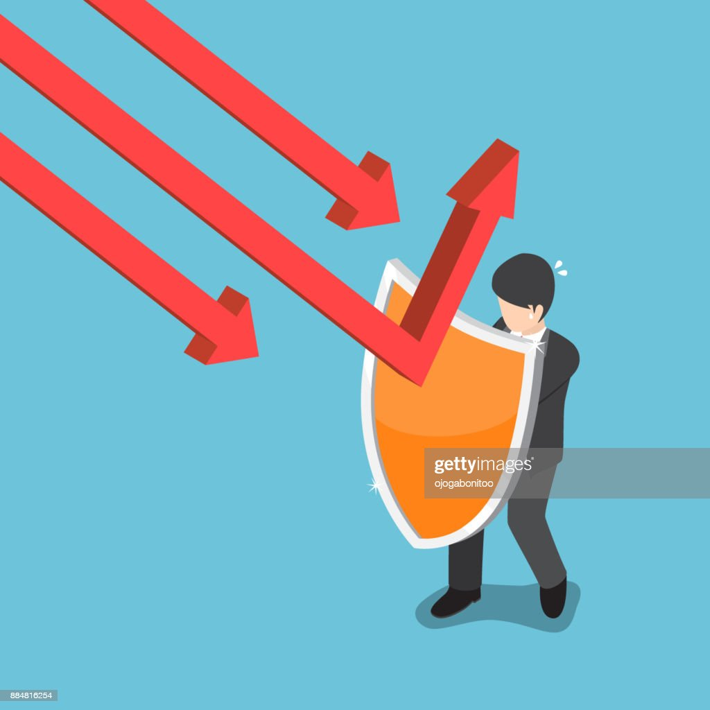 Isometric businessman use shield to protect falling graph.