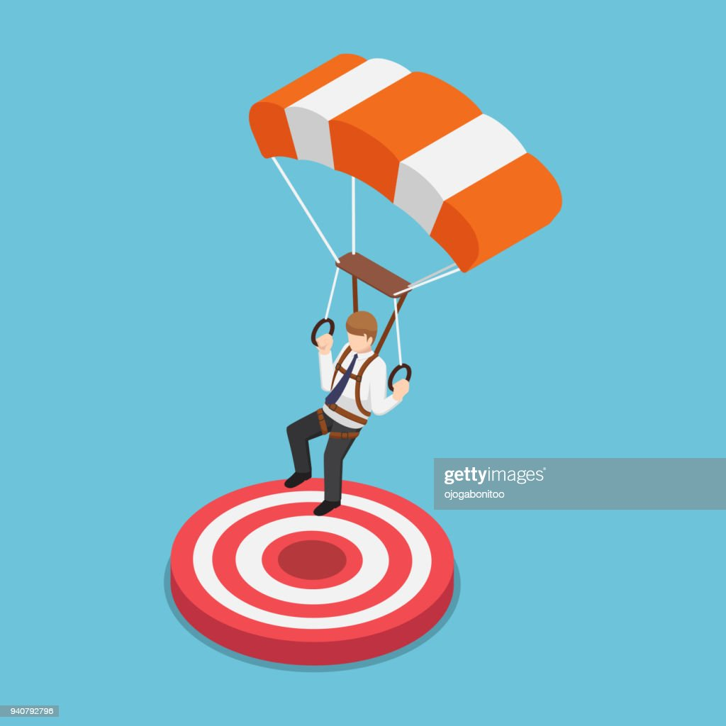 Isometric businessman with parachute landing on the target.