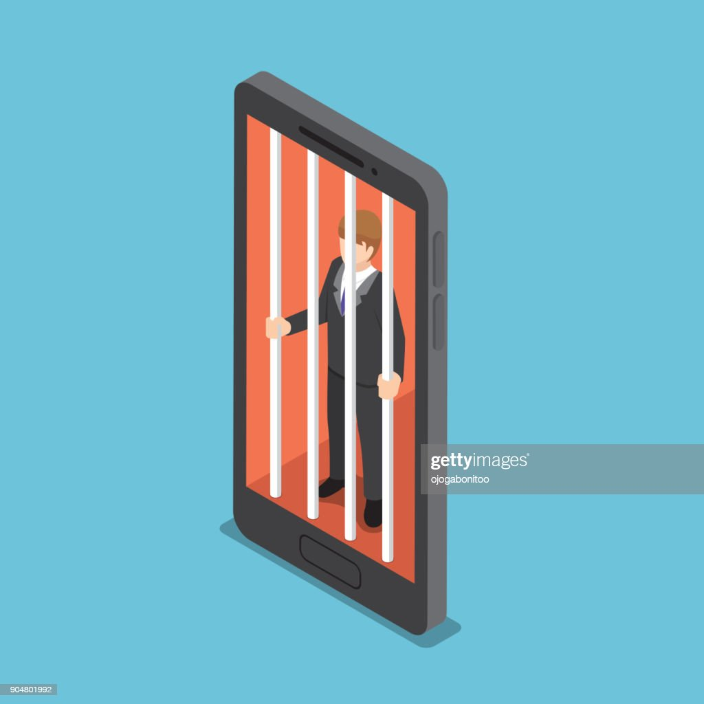 Isometric businessmen are trapped in a smartphone cage.