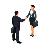 Isometric businessmen shake hands.