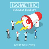 Isometric businesspeople disturbed by the noise from big megapho
