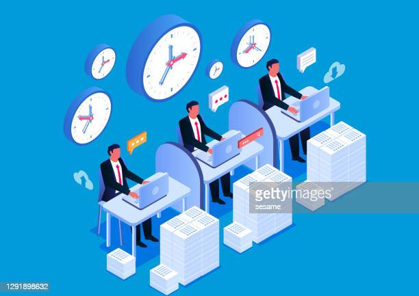 isometric busy working team group - overworked stock illustrations