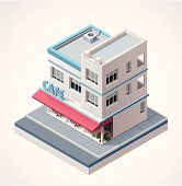 Isometric cafe isolated on a white background