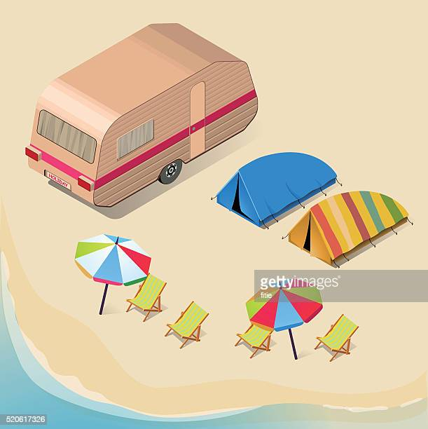 isometric camping background - land vehicle stock illustrations