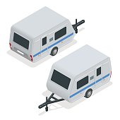 Isometric Camping trailer on road. Travel concept. Recreational vehicles.