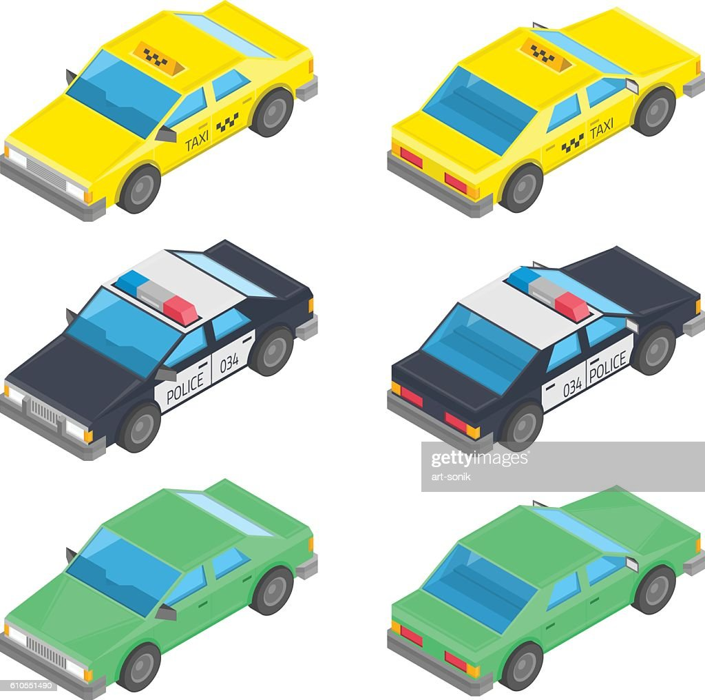 Isometric car taxi police.
