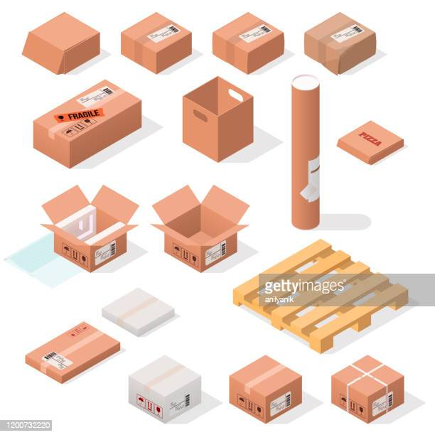 isometric cardboard boxes - fragile sign stock illustrations