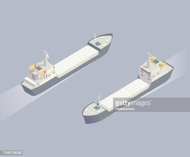 Isometric cargo ship illustration
