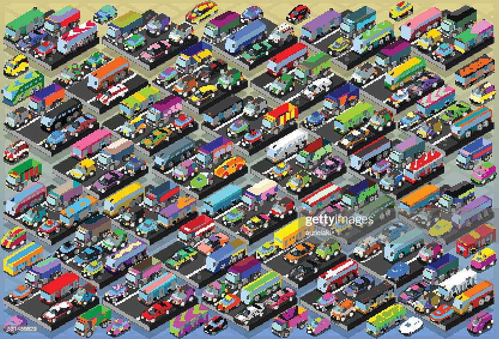Isometric Cars, Buses, Trucks, Vans, Mega Collection All In