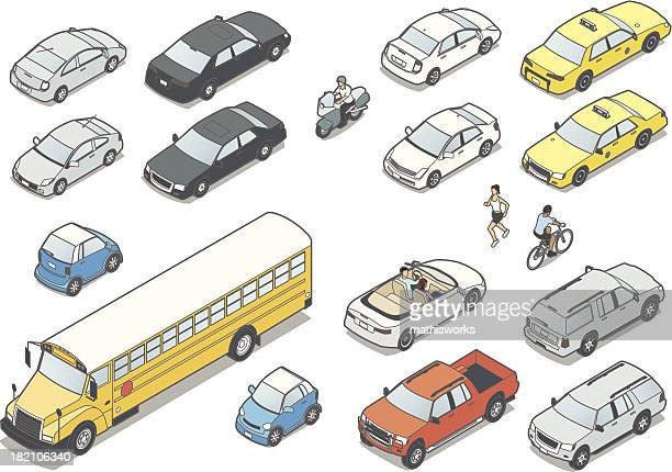 isometric cars - three quarter length stock illustrations