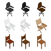 Isometric chair icon set. Isometric chairs different types. Vector.