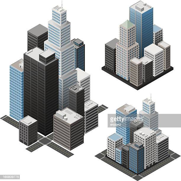 isometric cities - skyscraper stock illustrations