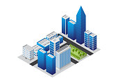 isometric city and building