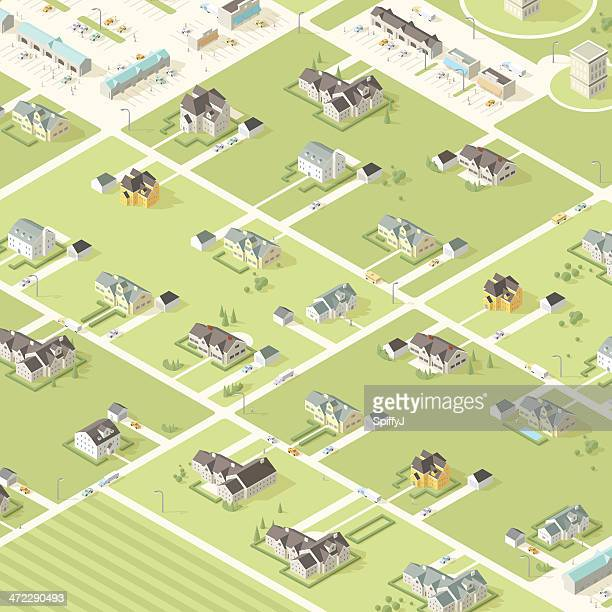 Isometric City and Buildings with People