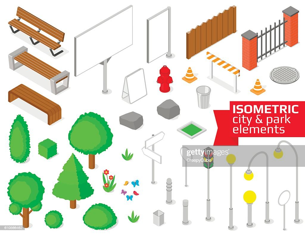 Isometric city and park elements set.