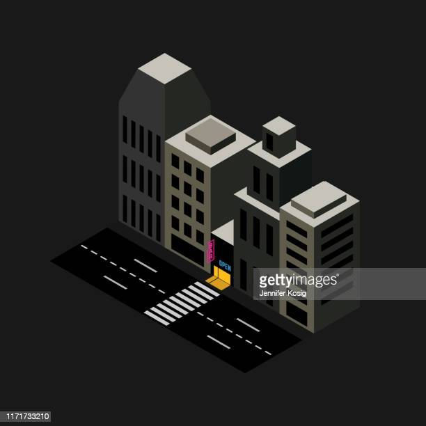 isometric city bar illustration - high street stock illustrations