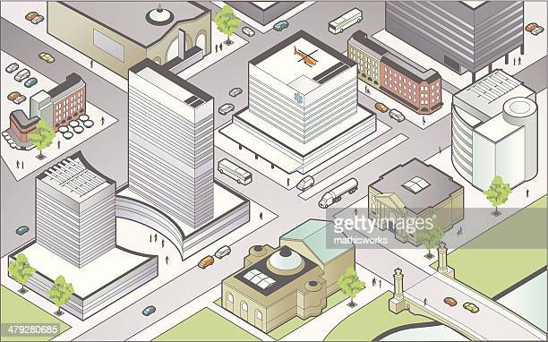 isometric city center - mathisworks business stock illustrations