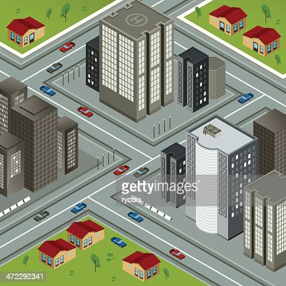 Isometric city - complex, house and skyscrapers