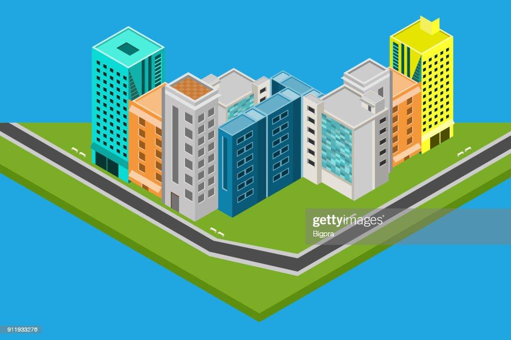 isometric city design houses, buildings Vector illustration