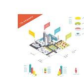 Isometric city infographic