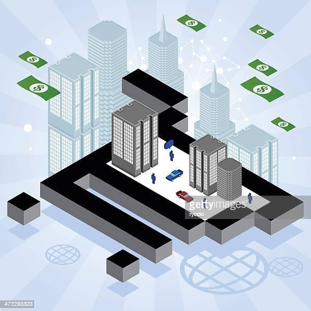 ilustrações de stock, clip art, desenhos animados e ícones de minibarra de ferramentas cidade de um carrinho de compras - finanças e economia