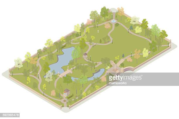 isometric city park illustration - mathisworks architecture stock illustrations