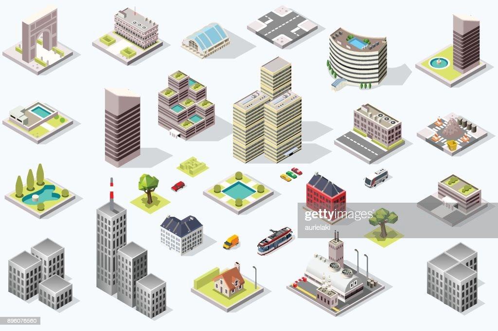 Isometric City Quality Vector Set