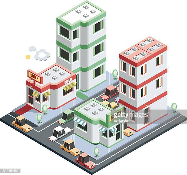 isometric city scene - conversion sport stock illustrations