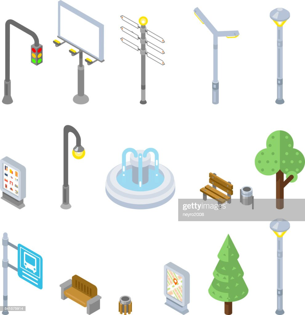 Isometric city street icons. Vector 3d urban objects