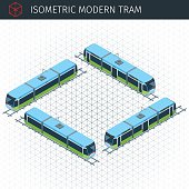 Isometric city tram