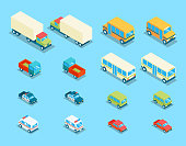 Isometric city transport 3d vector icons set