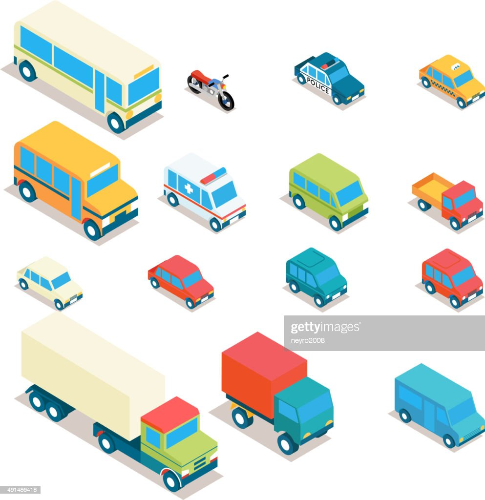 Isometric city transport and trucks vector icons. Cars, minibus, bus