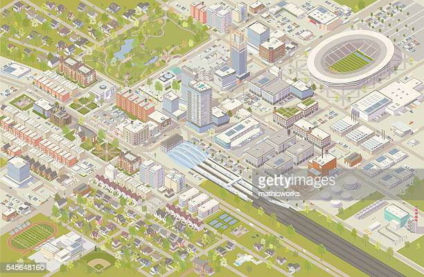 isometric city - stadtansicht stock-grafiken, -clipart, -cartoons und -symbole