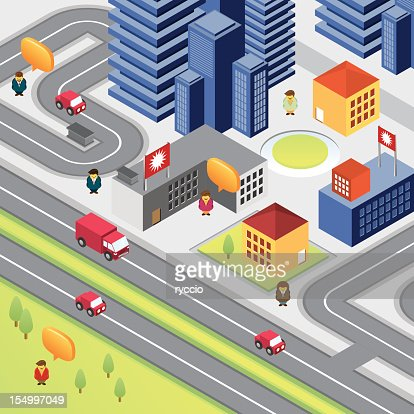 Isometric city with skyscrapers and people