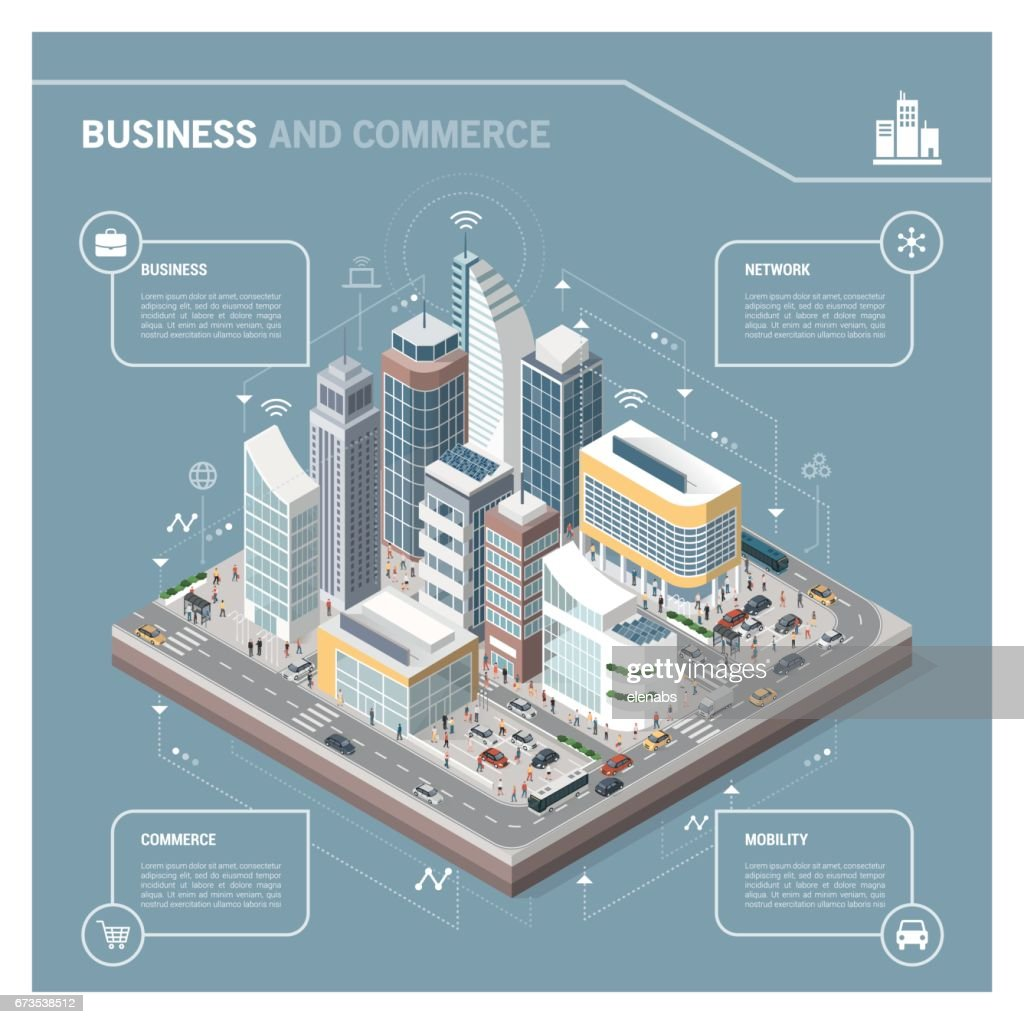 Isometric city with skyscrapers infographic