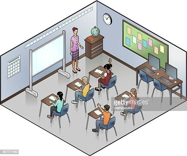 ilustraciones, imágenes clip art, dibujos animados e iconos de stock de isométricos montaje tipo aula - edificio de escuela primaria