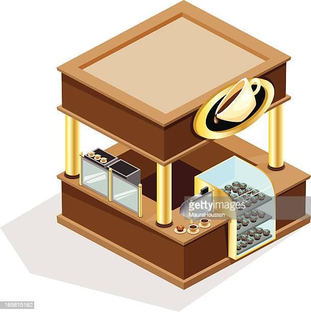 isometric coffee kiosk - retail display stock illustrations, clip art, cartoons, & icons