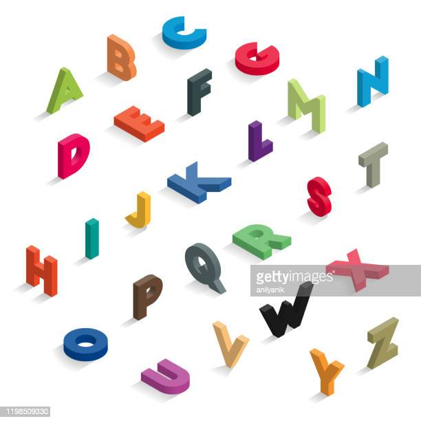illustrazioni stock, clip art, cartoni animati e icone di tendenza di isometric color letters - testo