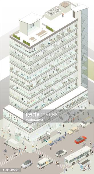 Isometric commercial building