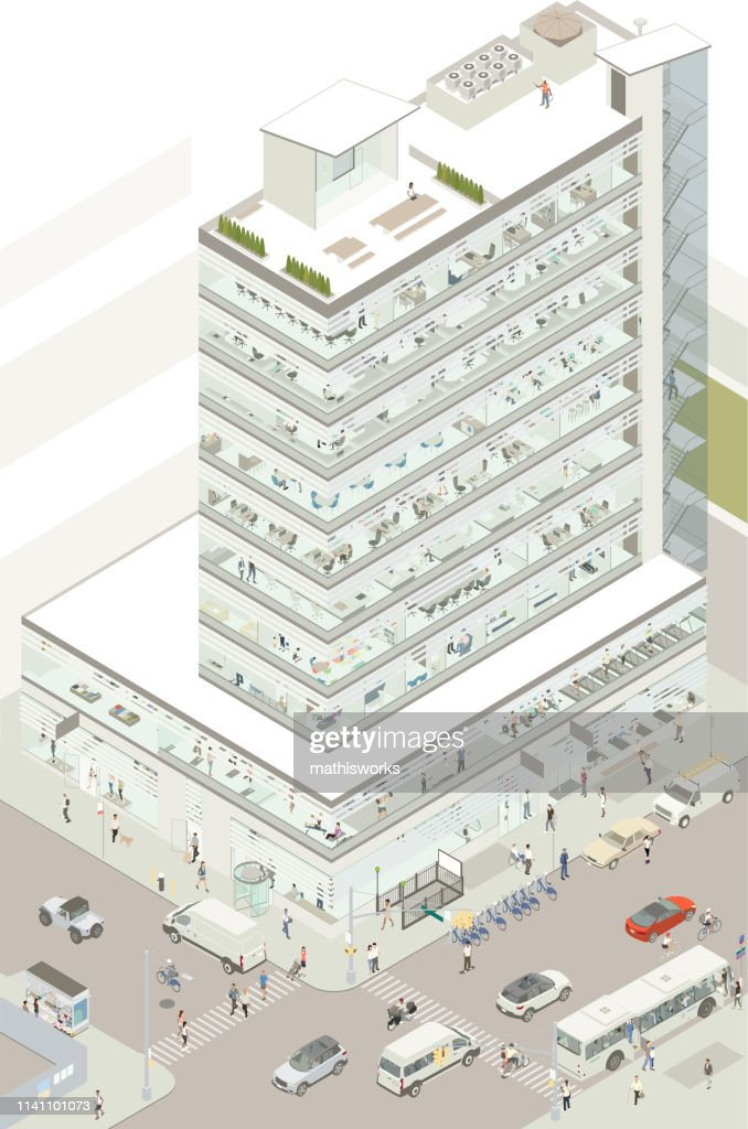 Isometric commercial building : stock illustration