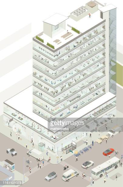 isometric commercial building - mathisworks architecture stock illustrations