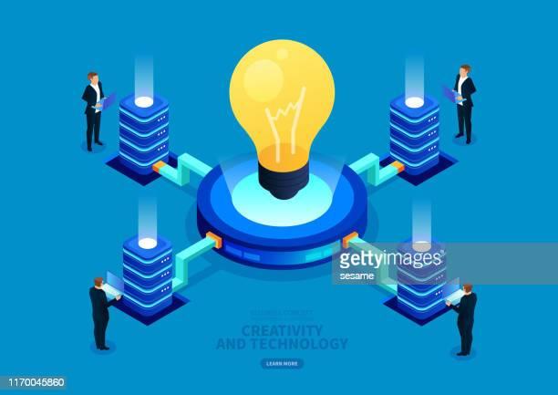 アイソメトリック商用デジタル技術と創造性 - 投影図点のイラスト素材/クリップアート素材/マンガ素材/アイコン素材