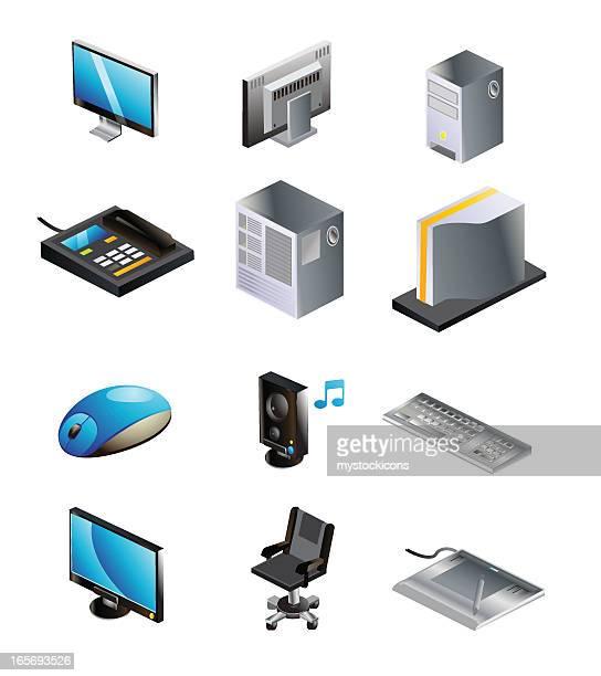 アイソメトリックコンピュータ、テクノロジーアイコン - 薄い点のイラスト素材/クリップアート素材/マンガ素材/アイコン素材