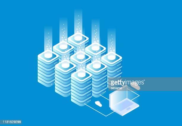 isometric computer cloud technology - big data isometric stock illustrations