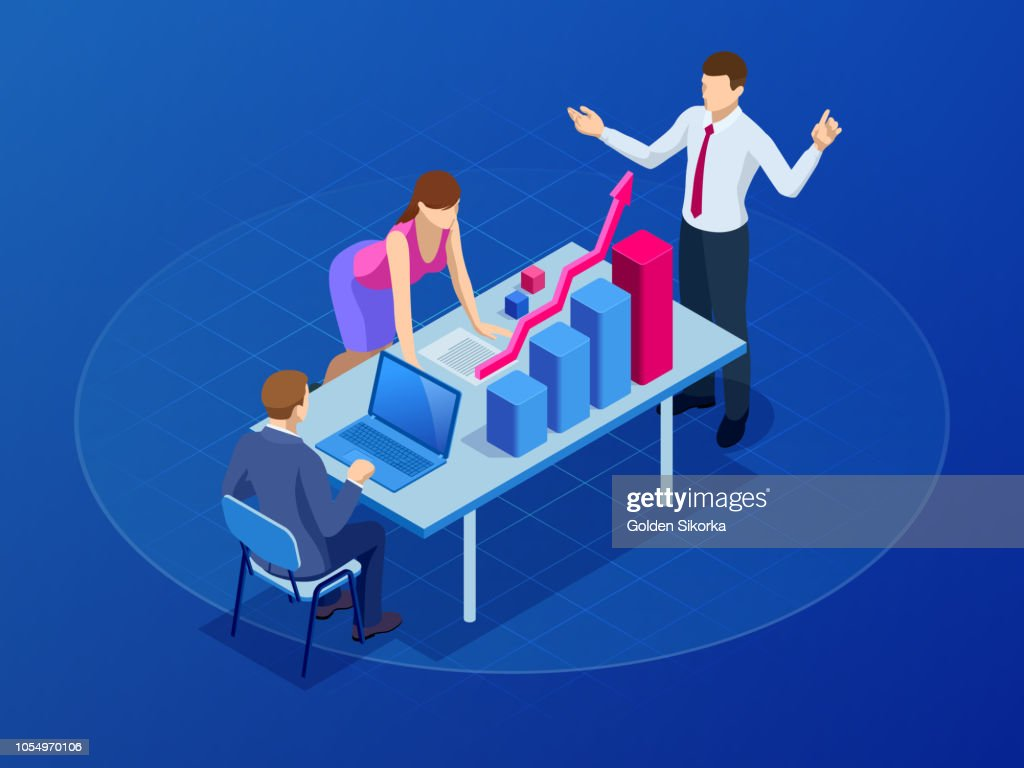 Isometric concept for business teamwork and digital marketing, creative innovation. Web banner flat design of promotion of business online, the takeoff rating of the work, ideas. Vector illustration