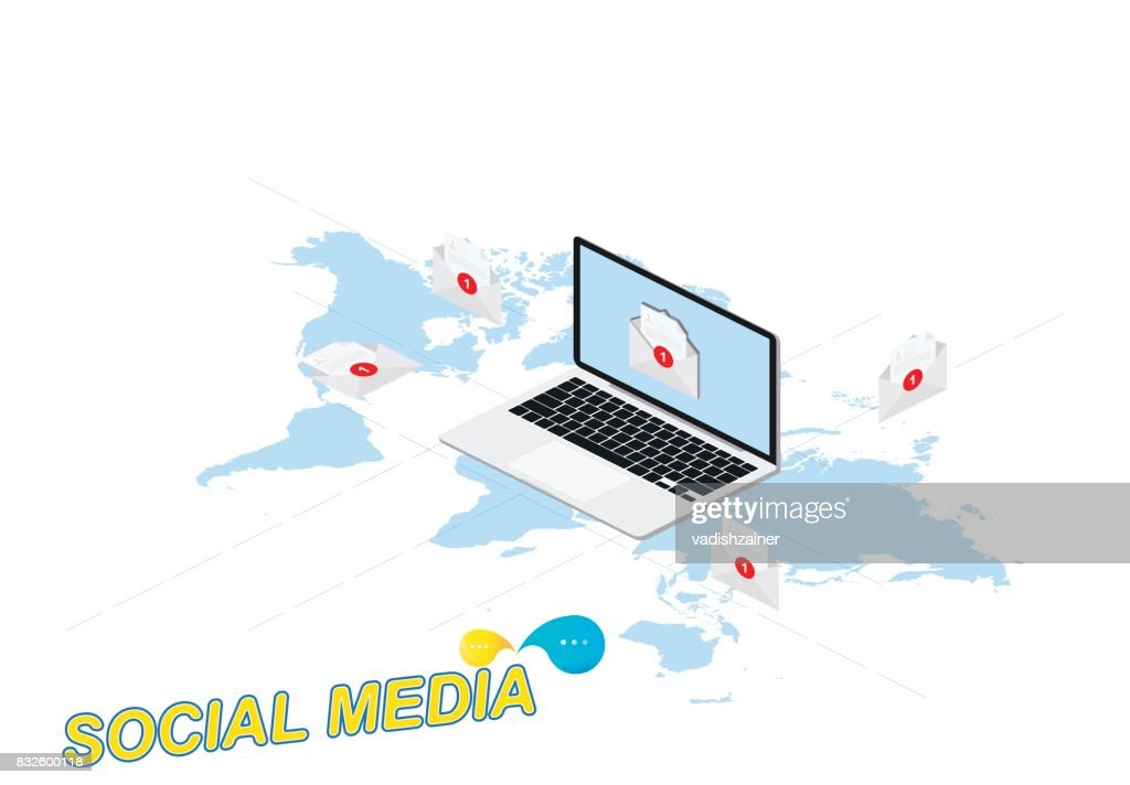 3d isometric concept new message notification icon in laptop against 3d isometric concept new message notification icon in laptop against the background of the world gumiabroncs Choice Image
